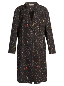 Preen Line   - Kiki Floral-Print Stretch-Cotton Cord Coat