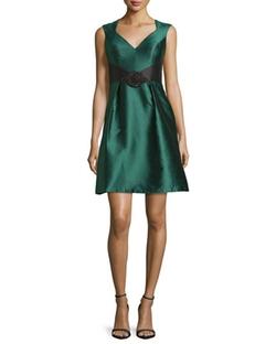 Theia - Sleeveless Open-Back Satin Cocktail Dress
