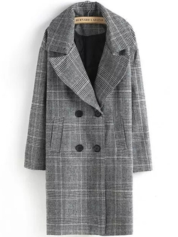 Romwe - Lapel Plaid Double Breasted Coat
