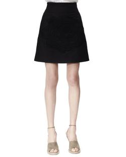 Stella McCartney  - Camilia Rose-Applique Cotton Pique Skirt