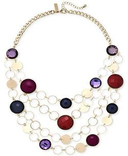 INC International Concepts  - Gold-Tone Purple Stone Open Link Frontal Necklace