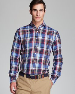Kent and Curwen -  Linen Plaid Button Down Shirt