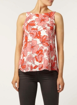Dorothy Perkins - Pink 60s Floral V Back Top