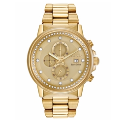 Citizen - Unisex Chronograph Nighthawk Eco-Drive Gold-Tone Stainless Steel Bracelet Watch