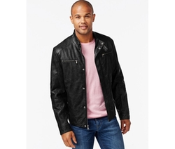 Kenneth Cole - Faux-Leather Moto Marble Jacket