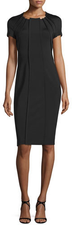 Escada - Short-Sleeve Pleated Sheath Dress