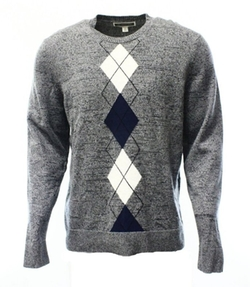 INC - Argyle Stripe Crewneck Sweater