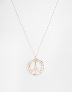 Asos - Peace Sign Long Pendant Necklace