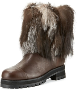 Jimmy Choo - Dana Fur-Trimmed Leather Boots