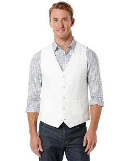 Perry Ellis - Solid Linen Suit Vest