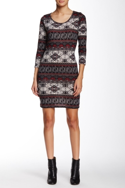Angie - Long Sleeve Patterned Sweater Dress