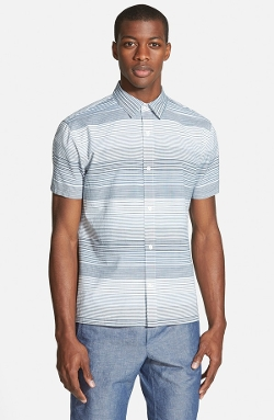Vince - Slim Fit Stripe Short Sleeve Sport Shirt
