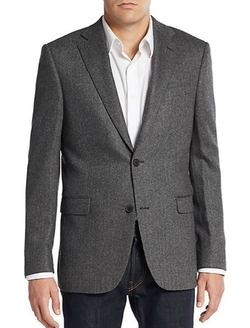 Saks Fifth Avenue  - Slim-Fit Herringbone Cashmere Sportcoat