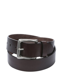 John Varvatos - Brown Leather Rectangle Buckle Belt