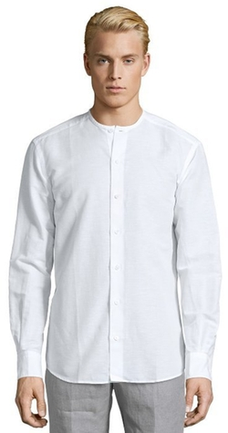 Ermenegildo Zegna - white linen and cotton blend collarless button front shirt