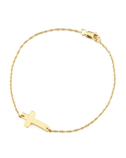 Moon and Lola	  - Gold-Plate Integrated Cross Bracelet