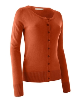 Le3no - Round Neck Fine Knit Cardigan