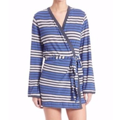 Skin - Bianca Striped Cotton Robe