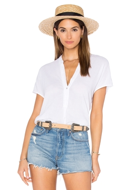 Heather - Gauze Split Neck Top
