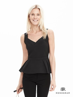 Banana-Republic - Monogram Structured Peplum Top