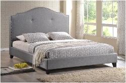 Baxton Studio - Marsha Scalloped Linen Bed