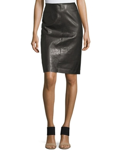 Lafayette 148 New York  - Slim Leather Midi Skirt
