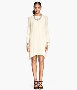 H&M - Embroidered Chiffon Dress