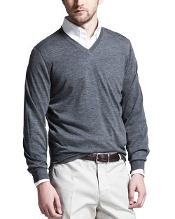 Brunello Cucinelli   - Fine-Gauge Tipped V-Neck Sweater