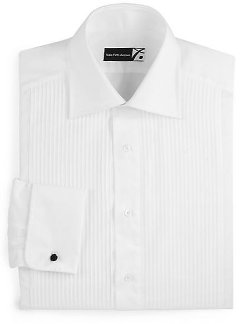 Saks Fifth Avenue Collection  - Classic-Fit Pleated Tuxedo Shirt