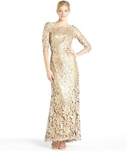 Tadashi Shoji  - Gold Sequined Lace Long Sleeve Gown