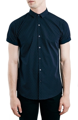Topman  - Slim Fit Short Sleeve Dot Print Shirt