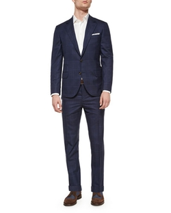 Brunello Cucinelli	  - Plaid/Windowpane Two-Piece Wool Suit