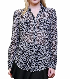 2Luv - Dressy Mix Print Button Down Blouse