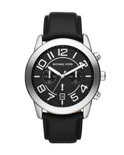 Michael Kors  - Oversize Black Leather Mercer Chronograph Watch