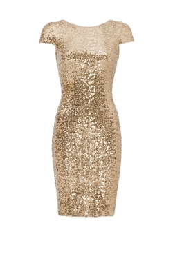 Badgley Mischka - Gold Swank Sequin Sheath Dress