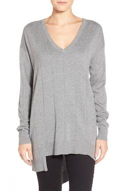 Vince Camuto  - Drop Stitch Asymmetrical V-Neck Sweater