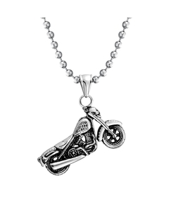 Bling Jewelry - Mens Skull Motorcycle Biker Pendant Necklace