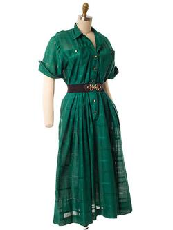 Bluevelvetvintage - 1950s Green Tonal Plaid Shirtwaist Dress