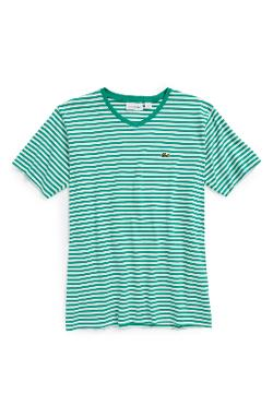 Lacoste  - Short Sleeve Stripe V-Neck T-Shirt