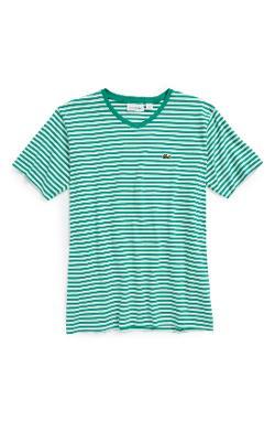 Lacoste  - Short Sleeve Stripe V-Neck T-Shirt