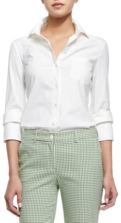 Michael Kors - Double-Cuff Button Blouse