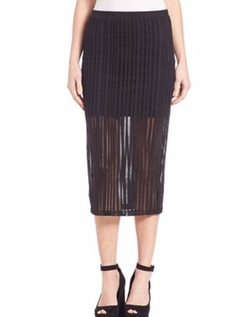 T By Alexander Wang - Stretch Cotton Jersey Jacquard Fitted Skirt