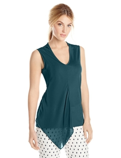 Anne Klein - Chiffon Combo Sleeveless Top
