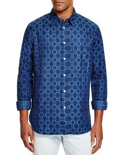 PS Paul Smith  - Square Print Slim Fit Button Down Shirt
