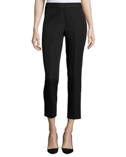 Natori - Mid-Rise Textured Cropped Pants, Black