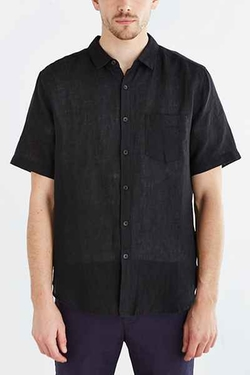 Your Neighbors  - Short-Sleeve Kieran Linen Button-Down Shirt