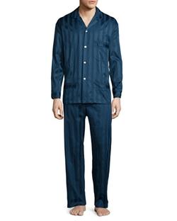 Bonsoir London - Tonal-Striped Cotton Pajama Set