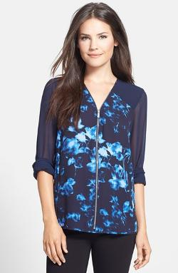 Vince Camuto - Floral Shades Zip Front Blouse
