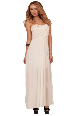 Hot from Hollywood - Strapless Fur Sequins Maxi Waist Party Dress