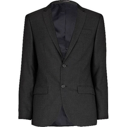 River Island - Grey Charcoal Skinny Suit Jacket